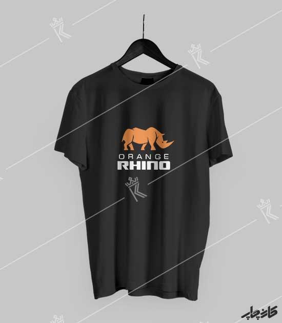 تیشرت مشکی کرگدن نارنجی orange rhino