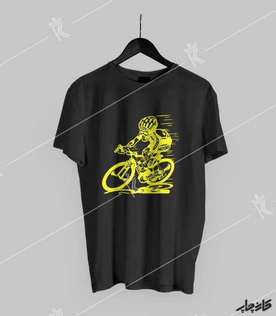 تیشرت مشکی اسکلت دوچرخه سوار