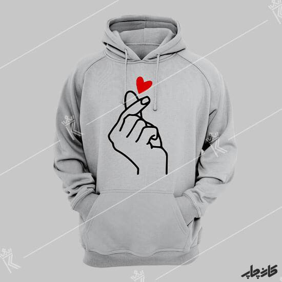چاپ روی هودی دست قلب BTS
